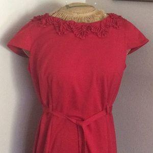 Red Ruffle neckline zipper back dress, match belt
